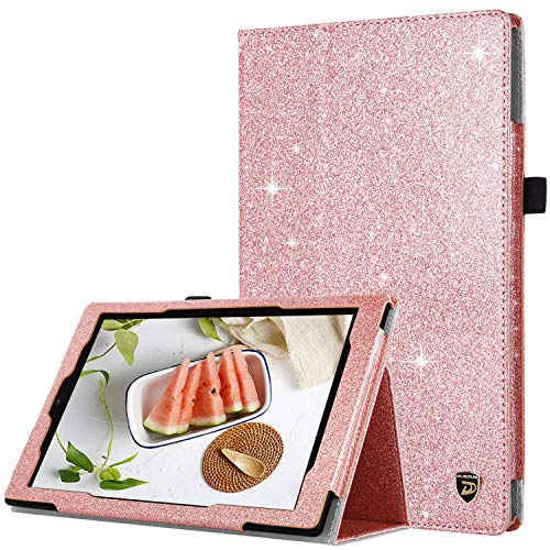 DUEDUE Case for Amazon Fire HD 10 Tablet (7th/5th Generation, 2017/2015 Release), 2 Fold Glitter PU Leather Folio Stand Smart Cover with Stylus Holder/Auto Wake/Sleep Feature for Fire HD 10,Rose Gold