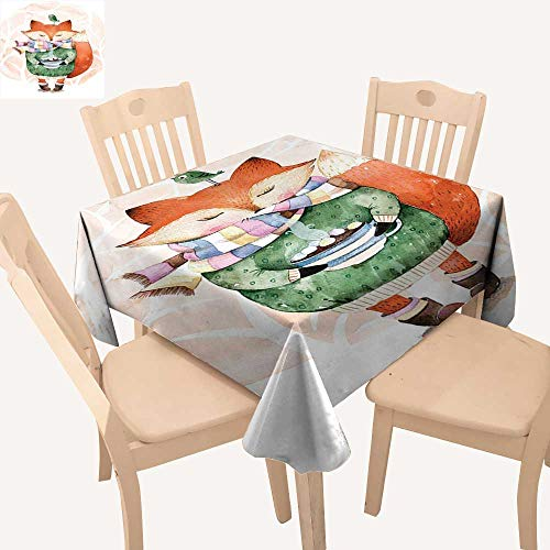 haommhome Watercolor Square Tablecloth Cute Little Fox Wants
