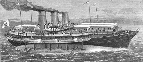 ROYALTY. The Czar's new yacht Livadia - 1880 - old antique vintage print - engraving art picture prints of Royalty Yachts - The - 1880 Antique Engraving