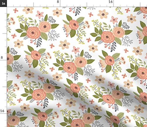 Floral Fabric - Flowers Summer Spring Roses Bouquet Wedding Floral Print on Fabric by The Yard - Organic Cotton Knit for Baby Blankets Clothing Apparel T-Shirts