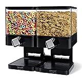Zevro Double Compact Cereal Dispenser, 17.5-Ounce, Black