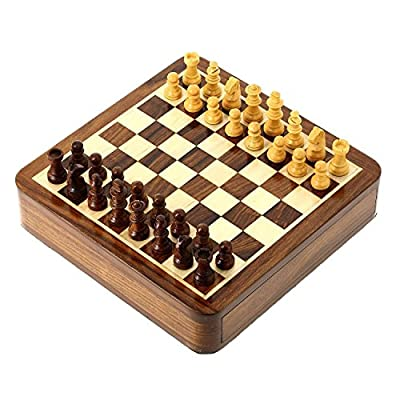 4th of July Independence Day Sale!! Wooden Magnetic Chess Board and Pieces, Sets with Sliding Storage Box 7 x 7 Inches - Gifts for Kids & Adults