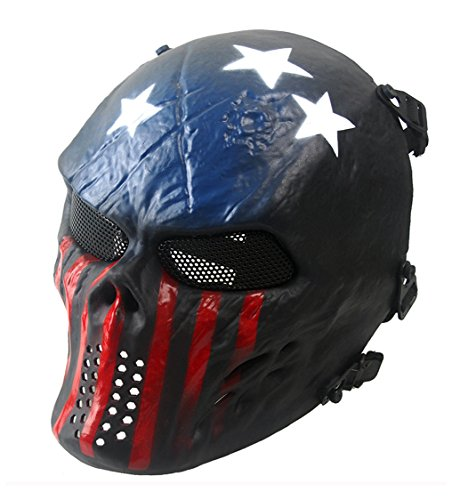 Full Face Airsoft Mask, GTBonad Adjustable Mask, Metal Mesh Eyes Protection, for Shooting, Paintball, Wargame, Halloween Costume, Outdoor Activities (Version 2017)  (Blue/Red, Metal Mesh) -