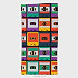11.8W x 27.5L Inches Custom Cotton Microfiber Ultra Soft Hand Towel Pattern From Retro Audio Cassette Tapes Vector Illustration 177993107