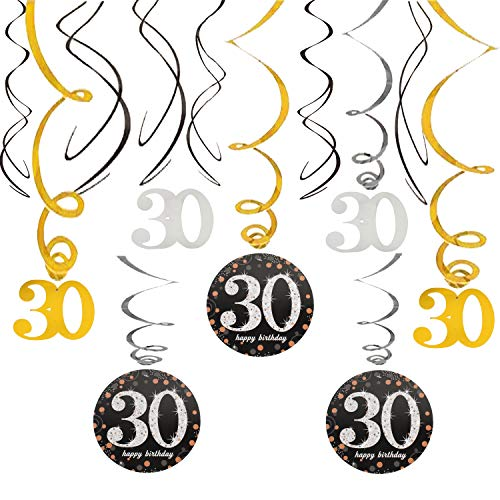 30th Happy Birthday Swirls Foil Gold Black Silver Streamers Party Hanging Decoration Cheers to 30 Years Old Bday Anniversary - 40'' x 12 -
