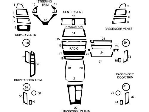 Rvinyl Rdash Dash Kit Decal Trim for BMW X6 2008-2014 - Wood Grain (Burlwood Dark)