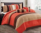 Modern 7 Piece Bedding Orange / Brown / White Pin Tuck / Stripe QUEEN Comforter Set with accent pillows