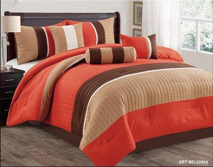 Modern 7 Piece Bedding Orange / Brown / White Pin Tuck / Stripe QUEEN Comforter Set by using accent pillows