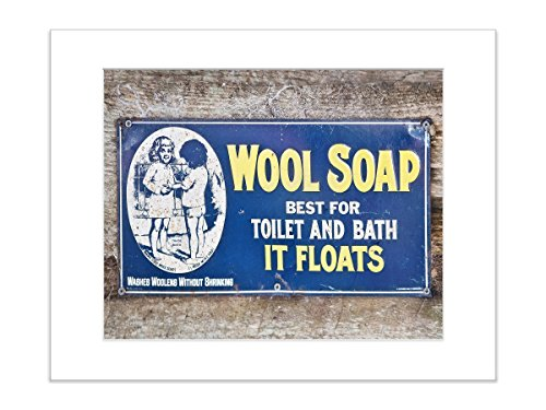 Metal Advertisement Sign (Retro Advertisement Laundry Room Sign 8x10 Matted Photo Wool Soap)