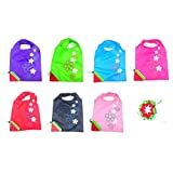 RayLineDo® Pack of 7 Strawberry Reusable Foldable Shopping Bags Grocery Shopping Tote Bags Convenient Grocery Bags and Handy, Shopping Travel Bags