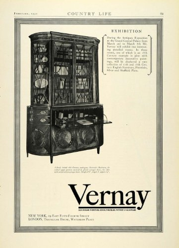 1930 Ad Vernay 18th Century Mahogany Secretaire Bookcase Household Furniture - Original Print Ad from PeriodPaper LLC-Collectible Original Print Archive