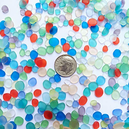 20 Pieces Flat Slice of Sea Glass Beads/Beach Glass Beads for Jewelry Making (Multicolored Mix, Not Drilled) (Tiny(5-8mm on Length))