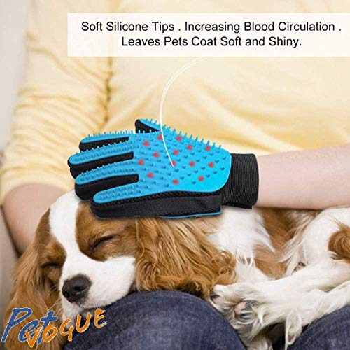 Konquer TimeS® Efficient Pet Hair Remover Mitt Enhanced 5 Finger Design Gentle Deshedding Brush Gloves for Dog and Cat with Long and Short Fur (Multicolour)