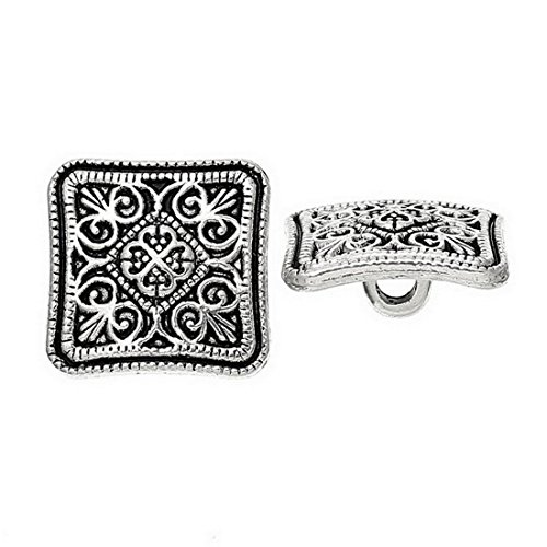 (Souarts Ancient Silver Color Flower Carved Square Buttons Pack of 100pcs)