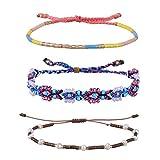 KELITCH Handmade Braided Rope Bracelet Adjustable Shell Pearl Beaded Friendship Bracelet 3 PCS/ Set (Color C)
