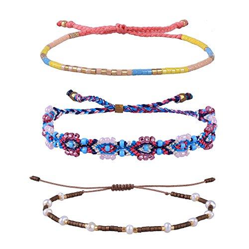ided Rope Bracelet Adjustable Shell Pearl Beaded Friendship Bracelet 3 PCS/ Set (Color C) (Crystal Beaded Friendship Bracelet)