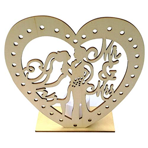 Wooden Hollow Love Heart Rustic Wedding Decoration Decor Crafts Wedding Party Supplies Ornaments with Electronic Candles (B)]()