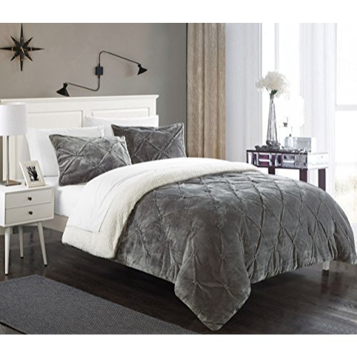 Chic Home 3 Piece Josepha Pinch Pleated Ruffled & Pintuck Sherpa Lined Comforter Set, King, Grey from Chic Home