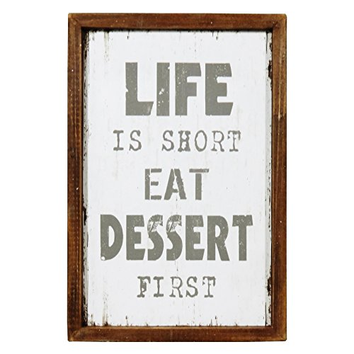 NIKKY HOME Wood Framed Kitchen Wall Art Poster with Quote Life Is Short Eat Dessert First, 12'' x 8'', White ()