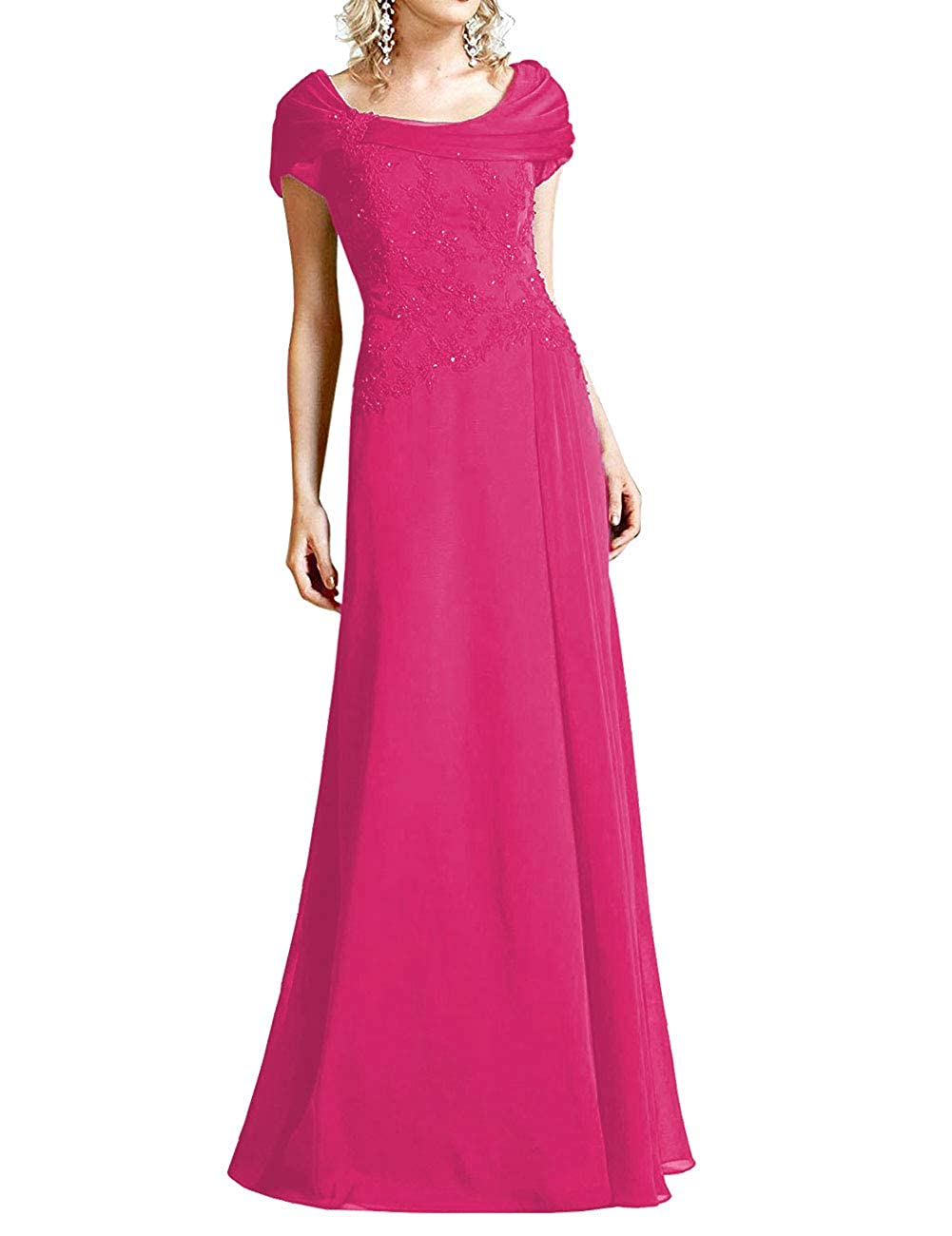 Fuchsia H.S.D Mother of The Bride Dresses Lace Formal Gowns Long Evening Dress Prom Wrap Shawl