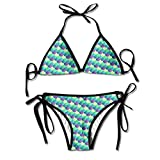 Most Fashion Maker Ladies Beautiful Mermaid Fish Scales Art Turquoise Green Printing Summer Sexy Two Pieces Beach Bathing Suit