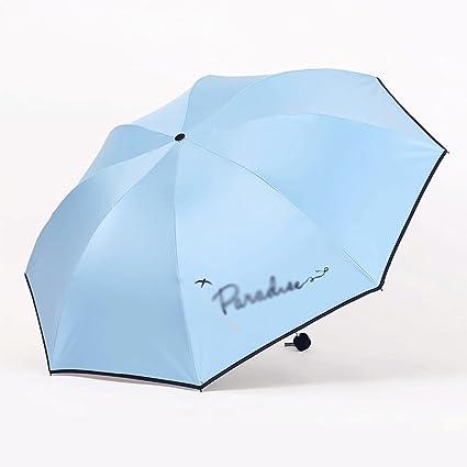 Paraguas Plegable sombrilla protección UV sombrilla Color Puro pequeño Fresco QIQIDEDIAN (Color : Azul Claro