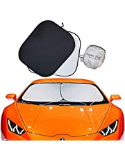 kinder Fluff Car Windscreen Sunshades - The only Certified Sunshade for Windscreen proven to Block 99.87% UV rays. Keeping Your Vehicle Cooler - Windshield Sun Shades Set of 2 pieces (Large)
