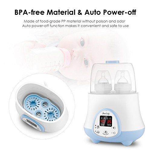 Baby Bottle Warmer Steam Sterilizer 4-in-1 Breast Milk Formula Baby Food Heater Intelligent Thermostatic System with LED Real-time,Fast Warming and Accurate Temperature Control (White) by ShakeLady (Image #4)