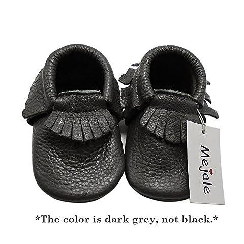 Mejale Baby Soft Sole Leather Tassel Slip-on Infant Toddler Baby Shoe Pre-walker(Dark Grey,6-12 - Leather Baby Moccasins
