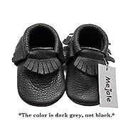 Mejale Baby Soft Sole Leather Tassel Slip-on Infant Toddler Baby Shoe Pre-Walker(Dark Grey,0-3 Months)