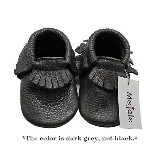 Mejale Baby Soft Soled Leather Moccasins Tassel Slip-on Infant Toddler Shoes Pre-Walker Dark Grey
