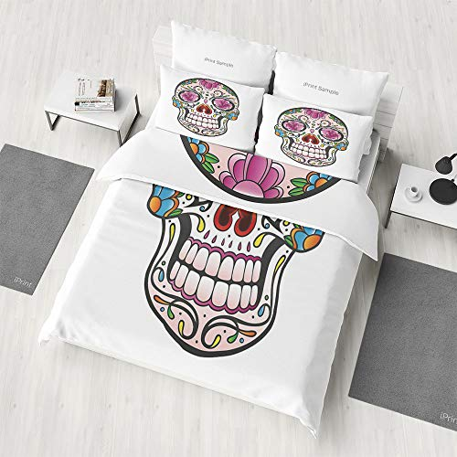 4 Piece Double-Sided Printing Bedding Set,Sugar Skull Decor,Pattern Reversible Bedding Gift for Family,Friends(Twin)