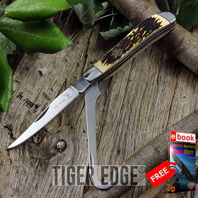 Elk Ridge 2-Blade Stag Bone Handle Equestrian's Folding Pen Pocket Knife + FREE eBOOK by MOON KNIVES