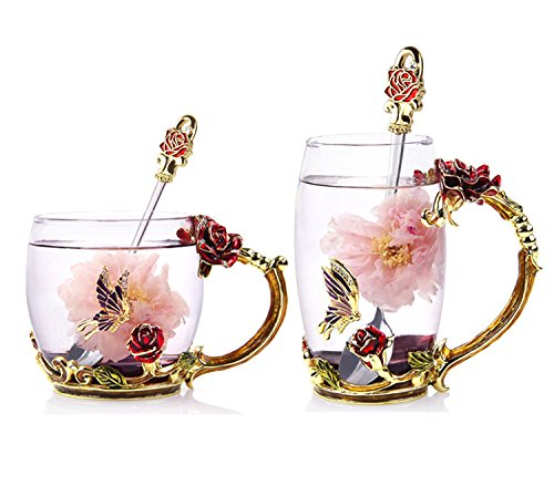 Bestbling Creative Decoration Enamel Flower Crystal Clear Glass Coffee Tea Water Milk Cup Mug 2 pieces in 1 Gift Box (Rose)