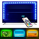 MINGER TV Led Strip Lights 6.56ft for 40-60in TV RGB Backlight Kit with Remote Control, Neon Bias Lighting with 20 Colors,10 Levels Speed, 22 Lighting Modes USB Powered