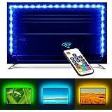 MINGER TV Backlight 6.56ft RGB Strip Light,Non-Waterproof TV Bias Lighting Kit with Remote Controller,Monitor Lighting Kit for HDTV Desktop PC,USB Powered