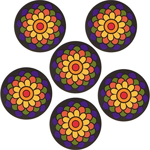 Planet Ethnic Soft PVC Round Flower Designer Coaster Set (6 Coasters). 4 inch diameter, 0.2 inch thick.