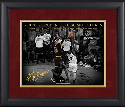 """LeBron James Cleveland Cavaliers Framed 11"""" x 14"""" NBA Finals Game 7 Chasedown Block Moments Spotlight - Facsimile..."""