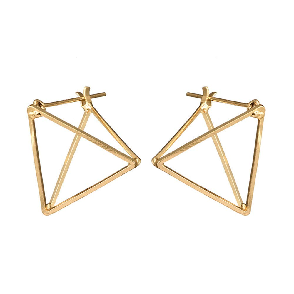 4b13cf76f Amazon.com: Punk Simple Geometric 3D Cube Square Triangle Earrings Silver  Gold Plated Stud Earrings for Women,Girls' Gifts (Gold): Garden & Outdoor