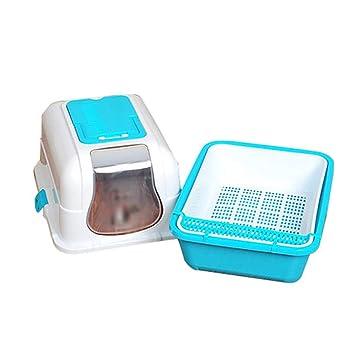 RKY Arena para Gatos Inodoro para Mascotas Prevención de Salpicaduras Desodorante Completamente Cerrado Doble Capa Tocador para Gatos Artículos para ...
