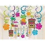 "Amscan Sun-Sational Summer Luau Tropical Tiki Swirl Decorations Mega Pack (30 Piece), Multi Color, 17.4 x 9.6"""