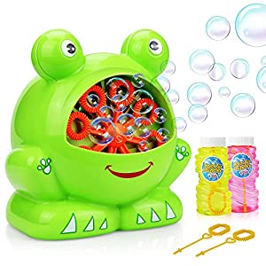 Bubble Machine, Baztoy Boys Girls Toys Over 500 Bubbles Per Minute Durable Automatic Bubble Blower for Kids with 2 Extra Bubbles Solution for Birthday Party, Indoor and Outdoor