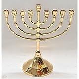 High Quality Menorah ( Hanukiah ) Gold Plated From Holy Land Jerusalem H/17 x W/15