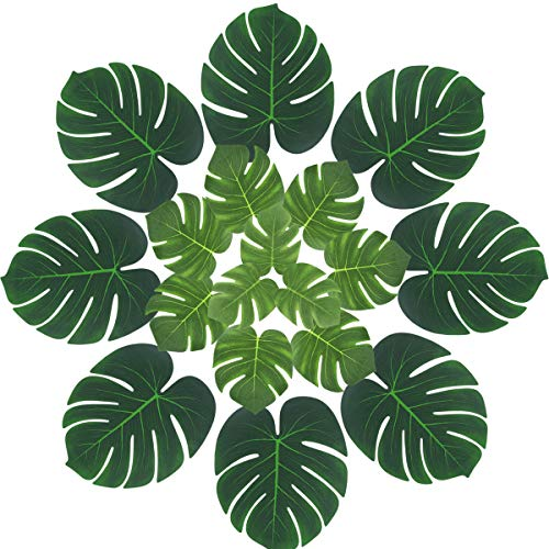 Vuaohiy Tropical Palm Leaves Jungle Party Decorations Plant Imitation Leaf for Hawaiian Luau Birthday Hula Theme Party Supplies(48PCS)]()