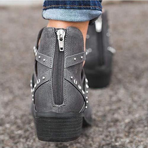 Manadlian Femmes Glissière Talons À Couleur Carrés Courte Chaussures Rivets Bottillons Simples Unie Creux Gris Botte rUdqwr01