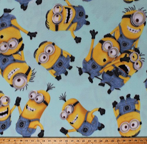 Fleece Minions Despicable Me Characters Kids Children's Mint Polar Fleece Fabric Print by The Yard -