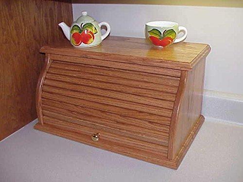 Oak Roll Top Bread Box - Honey Oak Stain