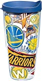 Tervis 1265134 NBA Golden State Warriors All Over Tumbler with Wrap and Blue Lid 24oz, Clear