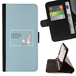 DEVIL CASE - FOR Samsung ALPHA G850 - Pretending Sincerity Courage Job Quote - Style PU Leather Case Wallet Flip Stand Flap Closure Cover