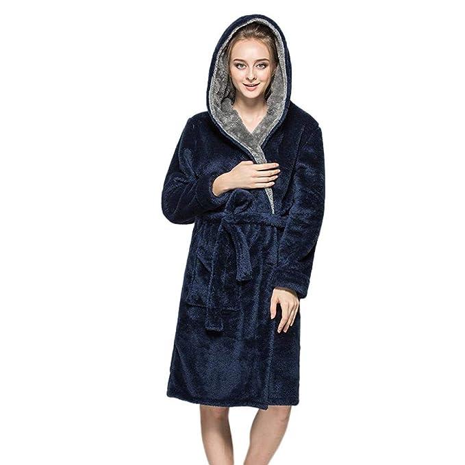 VJGOAL Mujeres Invierno Moda Casual Bata de Noche con Capucha Color sólido Albornoz de Felpa Alargar